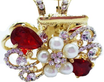 New Gold With Red Ruby Crystal & Pearl Floral  1 -1/2 Hair Claw Clip