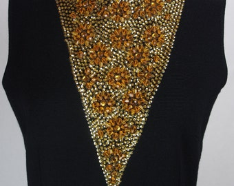 Vintage 1960s Evening Dress-Stunning Wool Knit with Dramatic Beaded Neckline!