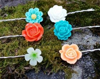 Floral Hair Pin Set, Flower Hair Accessories, Flower Hair Pins,  Floral Bobby Pins, Boho Bobby Pins, Floral Hair Accessories, Silver Pins