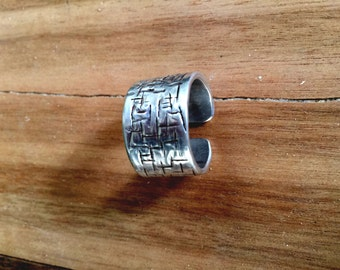 Rustic silver ring for men, rocker man's band OOAK. Men wedding band.