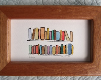 Original Watercolor and India Ink 33 Books in Custom Frame Made from Salvaged Tropical Mahogany Guitar  and Wenge Guitar Wood