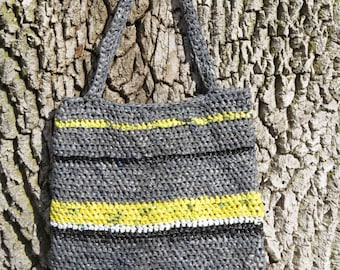 Gray, Yellow, Black, White Striped Plarn Bag/Tote Recycled, upcycled crocheted plarn bag/tote made from plastic shopping bags
