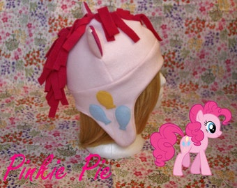 Pinkie Pie fleece Hat with earflaps- My Little Pony Fandom- adult/teen size- Great Geeky Gift