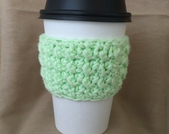 Mint Green Handmade Crochet Coffee Cup Cozy