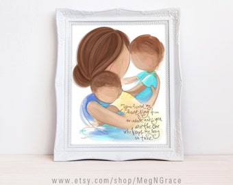 Mother Brunette Children Brunette Family Wall Art Picture for Nursery Children's Room - Mother and Sons Wall Art Print Design Meg N Grace