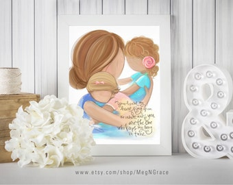 Mother and Daughters Wall Art Strawberry Blonde/Blonde Family Picture for Nursery Girls Room