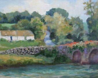Oil Painting, Inistioge, Ireland, Cottage, Fishing, Bridge