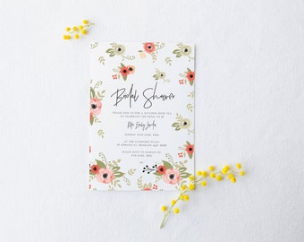 Bridal Shower Invitation - Floral Pink Garden Design