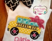 School Bus with Bow Applique Design, Machine Embroidery Design, Girl, Back to School, Preschool, Cute, Teacher, Girly, 4x4, 5x7, 6x10