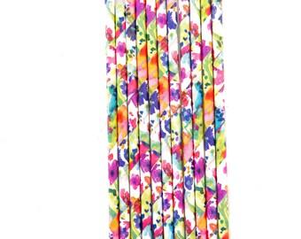 Floral Straw With Gold Flag, Paper Straw, Summery Straw, Gold Straw Flag, Baby Shower or Wedding Straw, Straw
