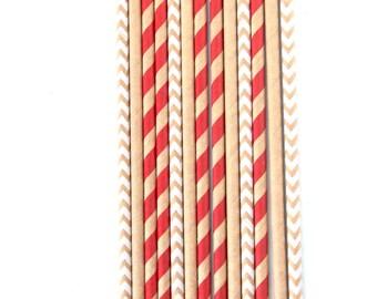 Kraft Brown Stripe Straw, Decorative Straw, Buffet, Gold Straw Flag, Kraft Brown Stripe, Christmas Decor, Winter Decor, Rustic Party Decor