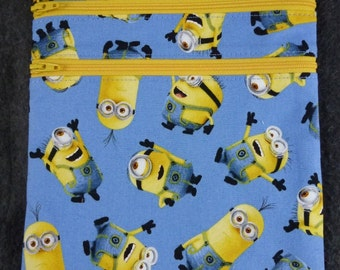 """Handmade """"Zip and Go"""" bag in Minions Fabric"""