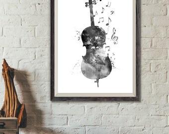 Cello Black and White Print No2, Cello Watercolor Print, Music Wall Art, Music Poster, Music Instrument Poster, Cello Decor, Art (A0299)