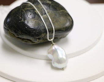 Freshwater pearl sterling silver pendant, FREE SHIPPING