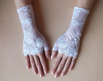 Wedding Gloves\ Lace gloves\White lace gloves\Fingerless Gloves