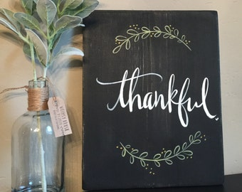 Rustic Wood Sign|Hand Painted|Autumn-Fall Holiday Decor|Thankful-Inspirational Home Decor