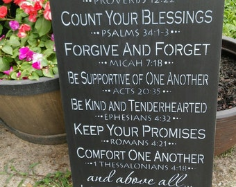 Stenciled wood sign, Hand painted sign, Family Rules, Family rules with scripture, Subway sign