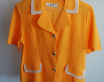 Vintage orange blazer with white trim and heart buttons