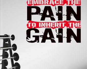 EMBRACE THE PAIN Workout Motivational Wall Art Decal Sticker.
