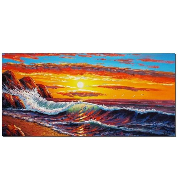 Pintura original, gran pintura, arte de la lona, pintura del paisaje, arte abstracto, arte grande, pared arte, arte abstracto, arte de la lona, Sunrise