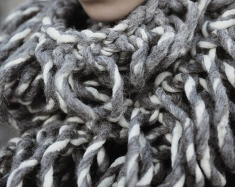Merino wool hand-knitted long scarf