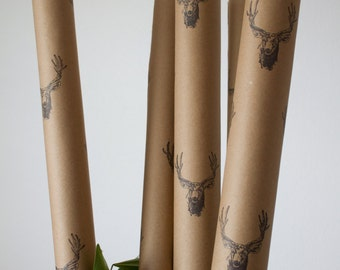 wrapping paper, kraft paper, gift wrap, deer kraft paper, deer gift wrap, mens wrapping paper, wrapping paper roll, holiday gift wrap
