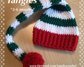 Baby Stocking Hat * 3-6 Months * Green and White Stripes/Red Trim