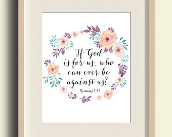 "Bible Verse Print ""If God is for us..."" Romans 8:31 Digital Scripture Nursery Watercolor Print Christian Quote Purple Teal Peach Nursery Art"