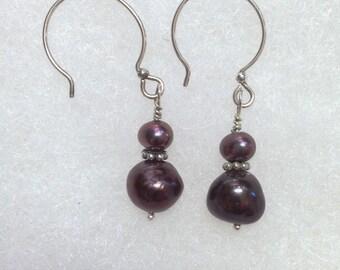 Mauve Colored Fresh Water Pearl Drop Earrings