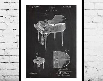 Piano Patent Poster, Music Room Decor, Piano Art, Musician Gifts, Piano Blueprint, Piano Wall Art
