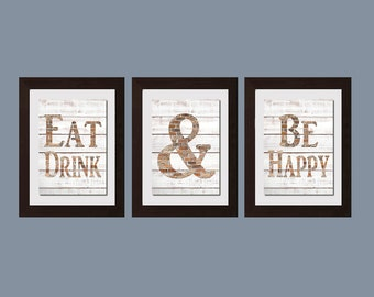 Modern Kitchen Wall Art, Shabby Chic Wall Art, Eat And Drink And Be Happy Print, Kitchen Decor, Kitchen Wall Art, Modern Kitchen Decor