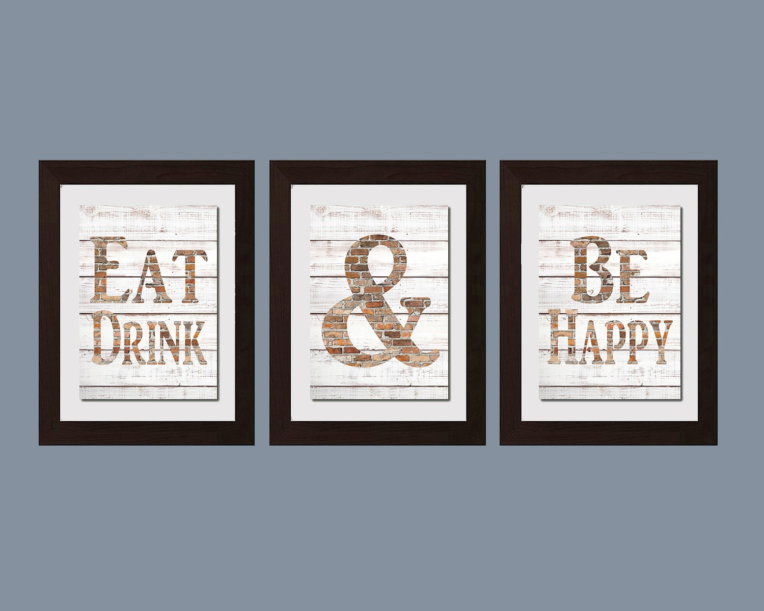 Modern kitchen wall art shabby chic wall art eat and drink for Kitchen wall art sets