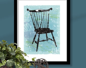 Windsor Chair 2 on turquoise background, chair art, windsor chair print, furniture art, distressed chair print, distressed background