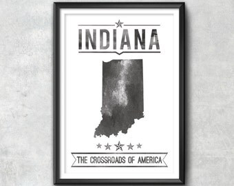 INDIANA State Typography Print, Typography Poster, Indiana Poster, Indiana Art, Indiana Gift, Indiana Decor, Indiana Print, Indiana Love Map