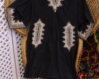 Vintage embroidered 70s kaftan cotton indian ethnic midi smock dress S M 10 12