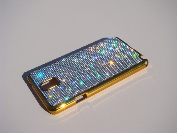 Galaxy Note 3 Clear Diamond Crystals on Gold-Bronze Electro Plated Plastic Case. Velvet/Silk Pouch Included, Genuine Rangsee Crystal Cases.