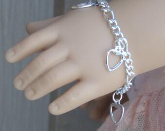 Silver Hearts Charm Bracelet for American Girl Dolls