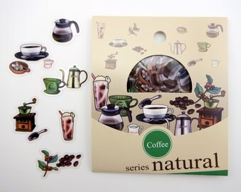 30 Japanese coffee sticker flakes! Cafe barista supplies - coffee beans - pour over - coffee grinder - coffee cup - iced frozen coffee treat
