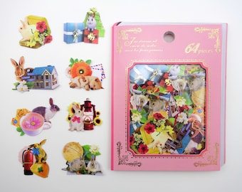 64 Japanese bunny rabbit real photo collage sticker flakes - kawaii realistic  bunnies & puppy - gift boxes - houses - flowers - tea cups