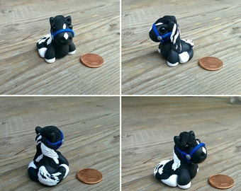 "Messy Mini's - *CLEARANCE* Polymer Clay Black & White ""Toby"" - Micro"