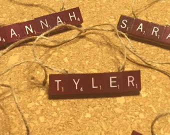 Custom Vintage Maroon Scrabble Ornaments - Unique Christmas Gift - Order by 12/20 - Ships in time for Christmas!