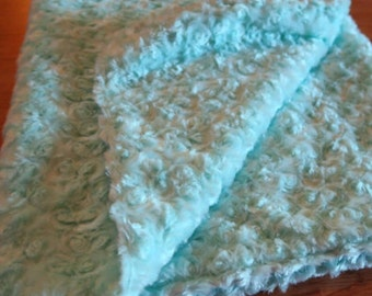 Aqua Blue Rose Swirl Minky–Soft Cuddle Baby Blanket