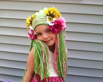Girls wig, Floral wig, Flower fairy wig, Green wig, Garden party, Fairy party, Costume hair, party outfit, Party costume, Yarn wig for kids