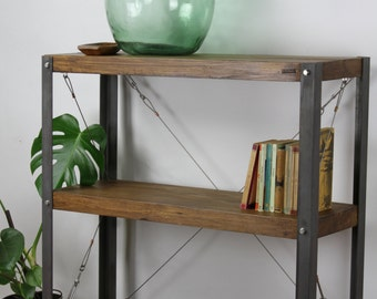 KONK! Oak/Steel - Cart Bookcase/Bookshelf INDUSTRIAL Shelving [Bespoke sizes!]