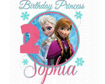 Digital File Winter Princess Birthday Iron On Transfer - Personalized - You Print