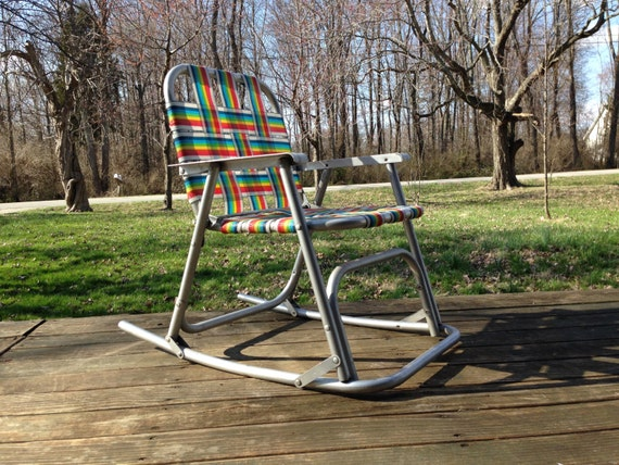 Items similar to Children s Aluminum Folding Rocking Lawn Chair Retro R