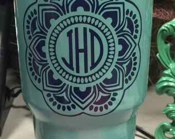 Mandala Decal - RTIC Vinyl Decal - Tumbler Decal - Personalized Decal - Monogram RTIC Decal - Free Shipping!