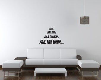 "A Long Time Ago In A Galaxy Far Far Away - 24"" x 18"" - Vinyl Wall Decal - Star Wars Inspired Vinyl Wall Decal"