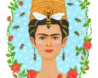 "Signed A4 Giclee limited edition print ""Bee Frida"", for those who love Frida Kahlo and Day Of The Dead! By Laura Robertson"