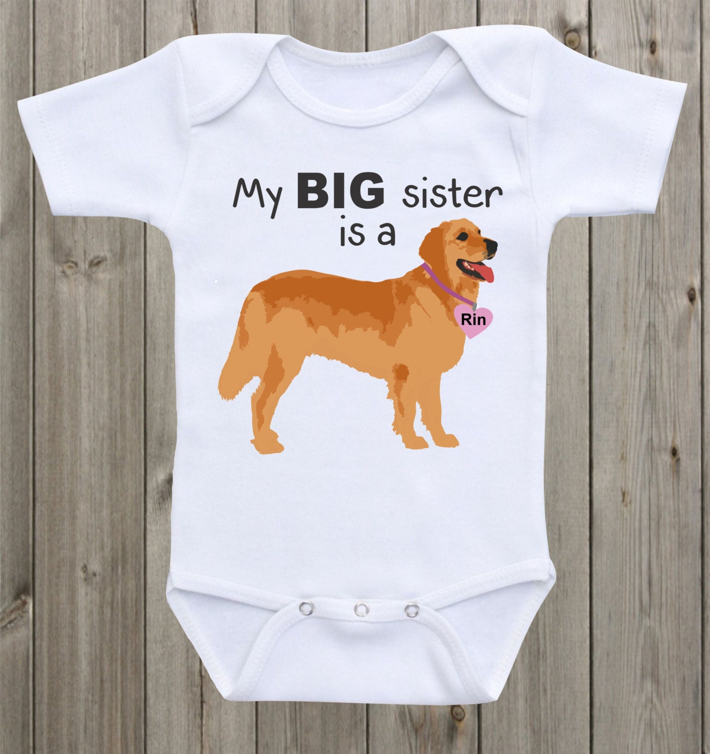 My Big Sister Is A Golden Retriever Baby Onesie Dog Onesie